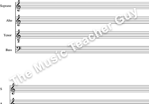 Musical Intervals SATB staff paper