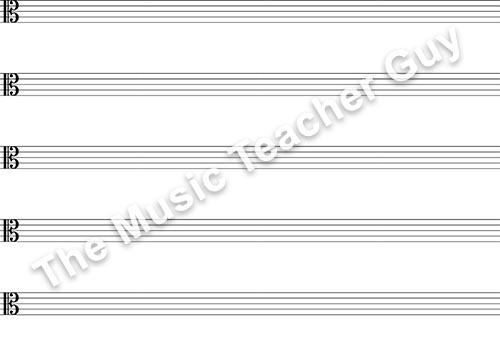 Musical Intervals alto clef staff paper