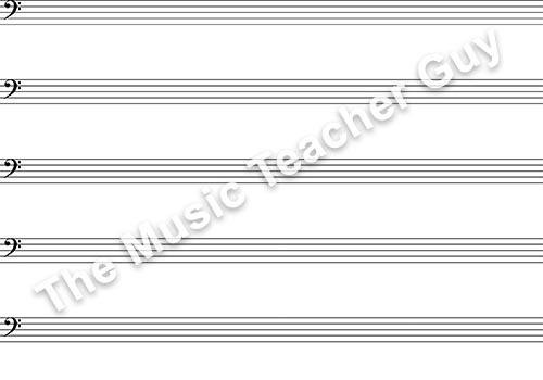 Musical Intervals bass clef staff paper
