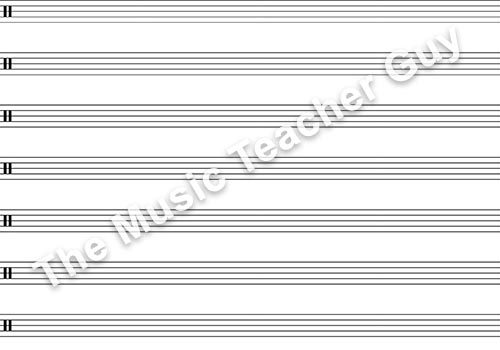 Blank Bass Clef With Tab Musical Intervals