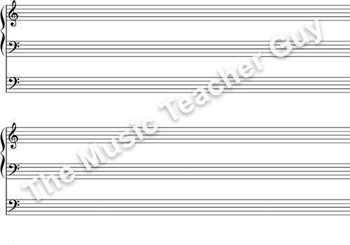 Musical Intervals organ staff paper