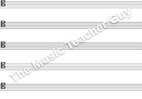 Musical Intervals tenor clef staff paper