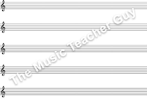 Musical Intervals treble clef staff paper