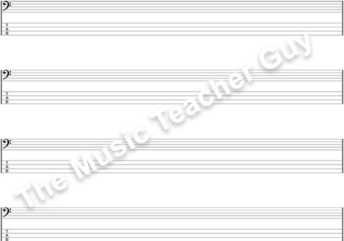 Blank Bass Clef With TAB